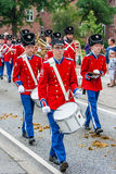AABENRAA, DENMARK - JULY 6 - 2014: Tambour corps at a parade at. The annual tilting festival in Aabenraa Royalty Free Stock Photo