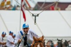 AABENRAA, DINAMARCA - 6 DE JULHO - 2014: Cavaleiros de participação em uma paridade Foto de Stock Royalty Free