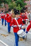 AABENRAA, DINAMARCA - 6 DE JULHO - 2014: Corpo de Tambour em uma parada em Fotografia de Stock Royalty Free