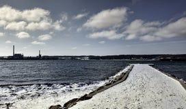 Aabenraa hamn i Danmark Arkivfoto
