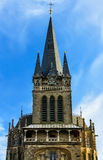 Aachen Cathedral is the episcopal church of Aachen, burial church of Charlemagne, the imperial city of Aachen`s main landmark and Stock Images