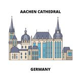 Aachen Cathedral, Germany line icon concept. Aachen Cathedral, Germany flat vector sign, symbol, illustration. Aachen Cathedral, Germany line famous landmark vector illustration