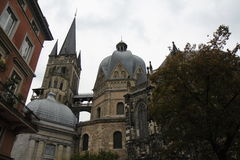 Aachen Cathedral Germany. A picture of King Charlemagne's Cathedral in Aachen, Germany on an overcast day with a view of towers and the façade of the church stock photography
