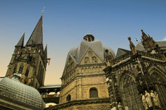 Aachen cathedral. View of the Cathedral to Aachen  The Cathedral belongs to the UNESCo World Heritage Royalty Free Stock Photography