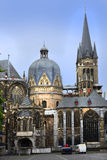 Aachen cathedral. View of the Cathedral to Aachen  The Cathedral belongs to the UNESCO World Heritage Royalty Free Stock Images