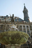 Aachen City Hall. Statue of Carolus Magnus (Charlemagne) , als known as Karl's fountain (Karlsbrunnen) in front of the Aachen City Hall Royalty Free Stock Photo