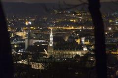 aachen cityscapeljus på natten Royaltyfria Bilder