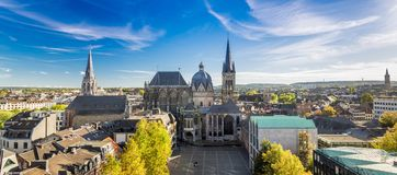City of Aachen, Germany. Aachen and Dom Cathedral in West Germany royalty free stock photo