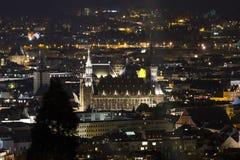 aachen historisk cityscape på natten Royaltyfria Bilder