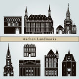 Aachen landmarks and monuments. On blue background in editable vector file Stock Images