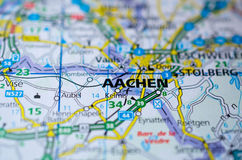 Aachen on map. Close up shot of Aachen Germany on a map Stock Images