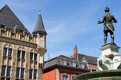 Aachen marknadsfyrkant i Tyskland Arkivbild