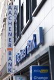 Aachen, North Rhine-Westphalia/germany - 06 11 18: aachener bank sign in aachen germany. Aachen, North Rhine-Westphalia/germany - 06 11 18: an aachener bank sign stock image