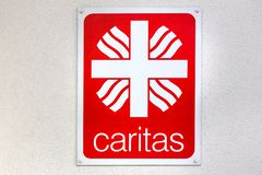 Caritas sign in aachen germany. Aachen, North Rhine-Westphalia/germany - 06 11 18: caritas sign in aachen germany stock photo