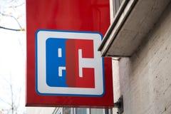 Aachen, North Rhine-Westphalia/germany - 06 11 18: ec sign in aachen germany. Aachen, North Rhine-Westphalia/germany - 06 11 18: an ec sign in aachen germany royalty free stock photography