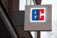 Aachen, North Rhine-Westphalia/germany - 06 11 18: ec sign in aachen germany. Aachen, North Rhine-Westphalia/germany - 06 11 18: an ec sign in aachen germany royalty free stock images