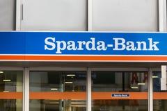 Aachen, North Rhine-Westphalia/germany - 06 11 18: sparda bank sign in aachen germany. Aachen, North Rhine-Westphalia/germany - 06 11 18: an sparda bank sign in stock photography