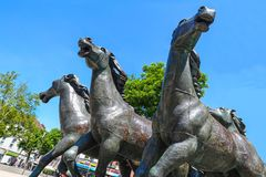Horse group bronze by Bonifatius Stirnberg, Aachen Stock Photography