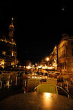 Aachen's night. In the city center squere stock photography