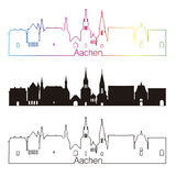 Aachen skyline linear style with rainbow Stock Images