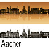 Aachen skyline in orange. Background in editable vector file Royalty Free Stock Photo