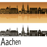 Aachen skyline in orange Royalty Free Stock Photo