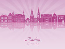 Aachen skyline in purple radiant orchid. In editable vector file Stock Photography