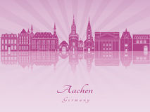 Aachen skyline in purple radiant orchid. In editable vector file Stock Image