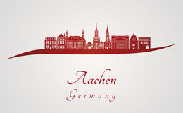 Aachen skyline in red. And gray background in editable vector file Stock Photography