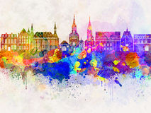 Aachen skyline in watercolor. Background Stock Photos