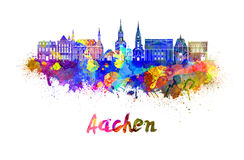 Aachen skyline in watercolor. Splatters with clipping path Stock Photo