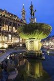 Aachen stadshus och springbrunn Arkivfoto