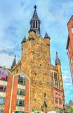 Aachener Rathaus, a câmara municipal de Aix-la-Chapelle, construída no estilo gótico germany Fotos de Stock