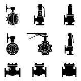 Set of industrial valve icon. Safety, butterfly and check valves. Silhouette vector royalty free illustration
