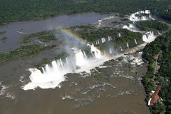 Aaerial view of Iguazu waterfalls from helicopter. Border of Brazil and Argentina. royalty free stock image
