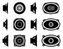 Speaker driverr. Audio equipment. Silhouette vector stock images