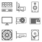 Components of computer. Thin line icons royalty free illustration