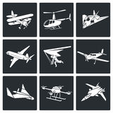 Aaircrafts Vector Icons Set Stock Images