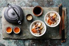 Aal auf Reis mit Soße und Tee Lizenzfreie Stockfotos