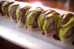 Aal Avacado Dragon Roll Lizenzfreies Stockbild