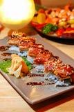 Aal gegrillt mit Reis stockfoto