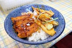 Aal Kabayaki grillte mit rohem Thunfisch auf Reis in der Schüssel Lizenzfreie Stockfotos