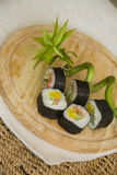 Aal maki mit Bambus Lizenzfreies Stockfoto