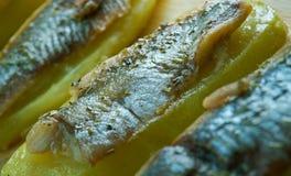Aal mit Ofenkartoffeln Lizenzfreie Stockbilder