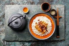 Aal mit Soße und indischem Sesam auf Reis und grünem Tee Lizenzfreie Stockfotografie
