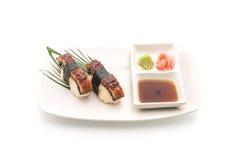 Aal nigiri Sushi - japanische Lebensmittelart Lizenzfreies Stockfoto