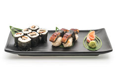 Aal nigiri und maki Sushi - japanische Lebensmittelart Stockfotos