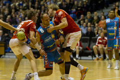 Aalborg Handball - AG Copenhagen. Aalborg Handball got their revenge from the cup final, when they lost to AG Copenhagen. Aalborg wins the league match with the Royalty Free Stock Images