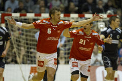 Aalborg Handball - Nordsjælland Handball. Aalborg is ready for the Nordea Cup final after the 22-19 win against Nordsjælland in the cup semi finals Stock Image