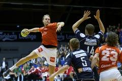 Aalborg handboll - Nordsjælland handboll Fotografering för Bildbyråer